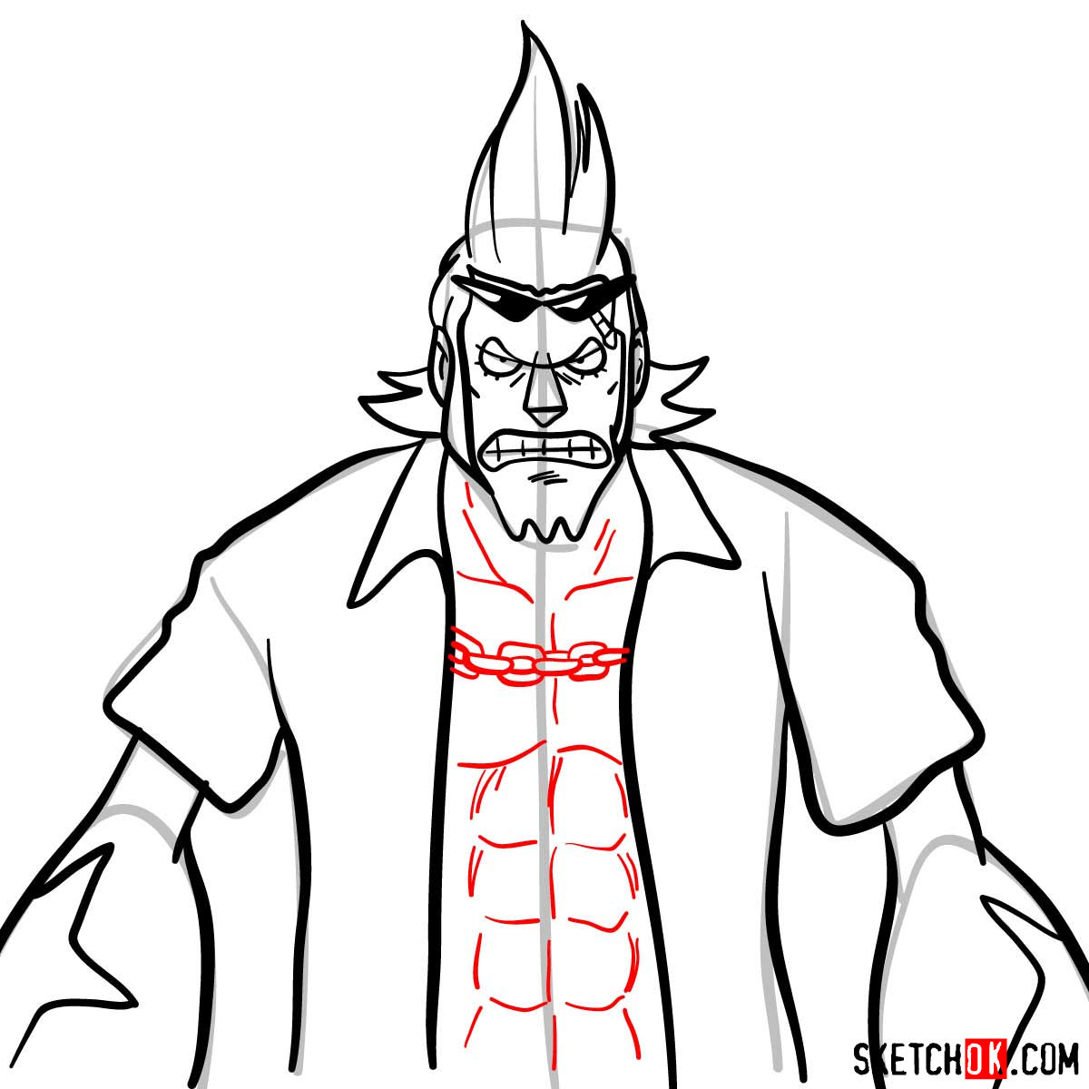 How to draw Franky from One Piece anime - step 10