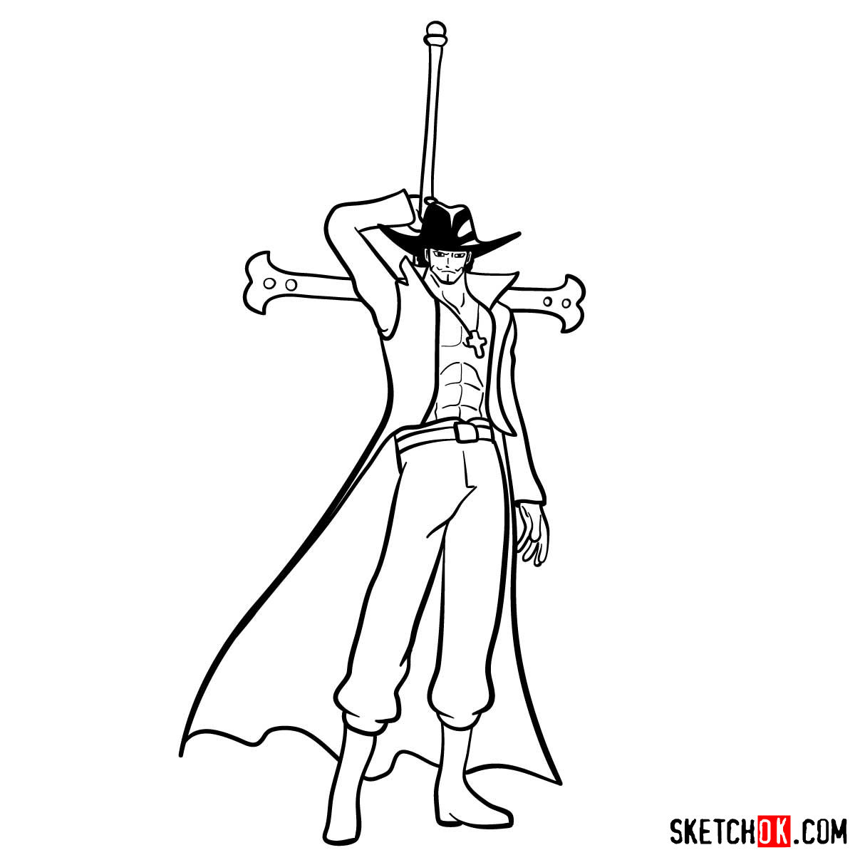 How to draw Dracule Mihawk full growth | One Piece