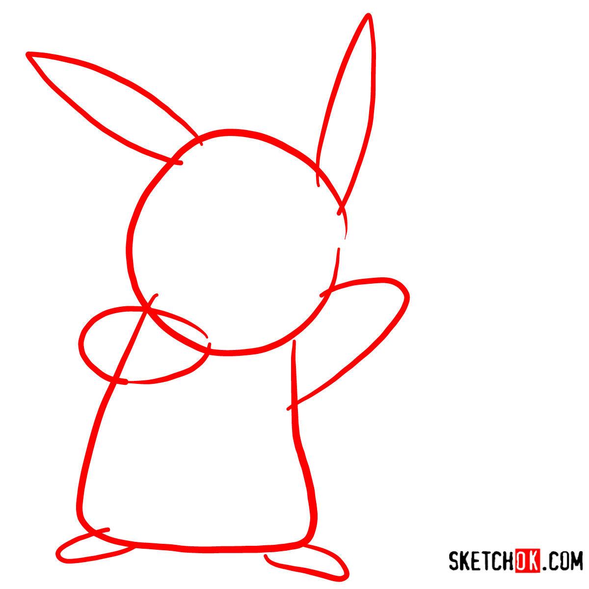 How to draw Happy Pikachu | Pokemon - step 01