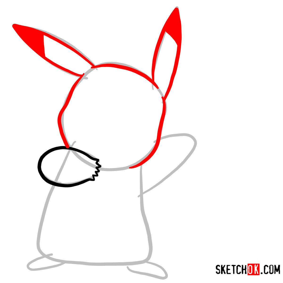 How to draw Happy Pikachu | Pokemon - step 03