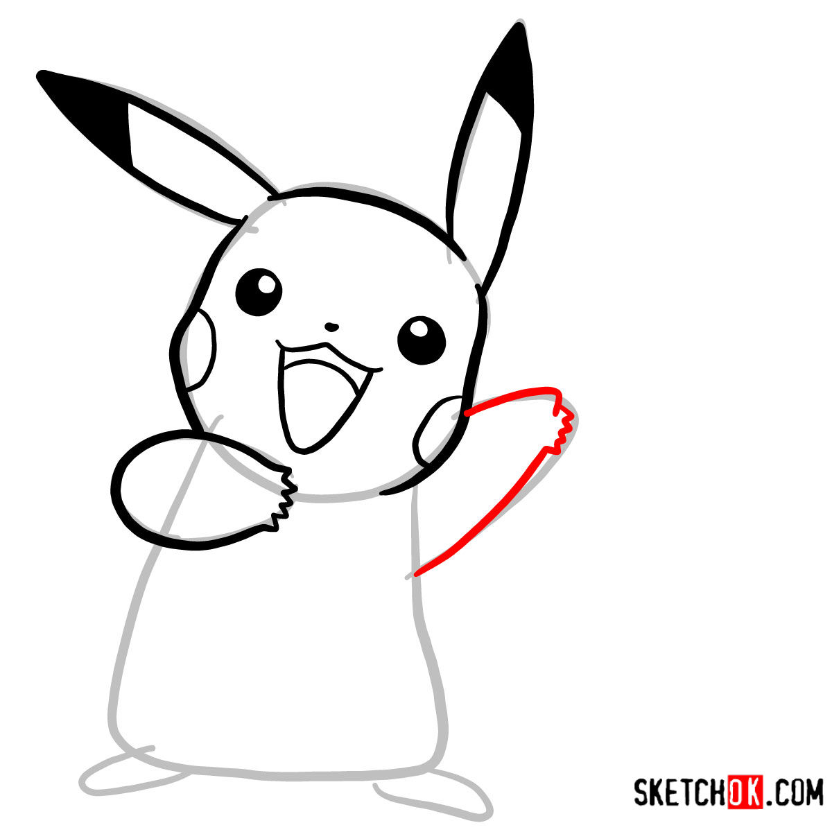 How to draw Happy Pikachu | Pokemon - step 05