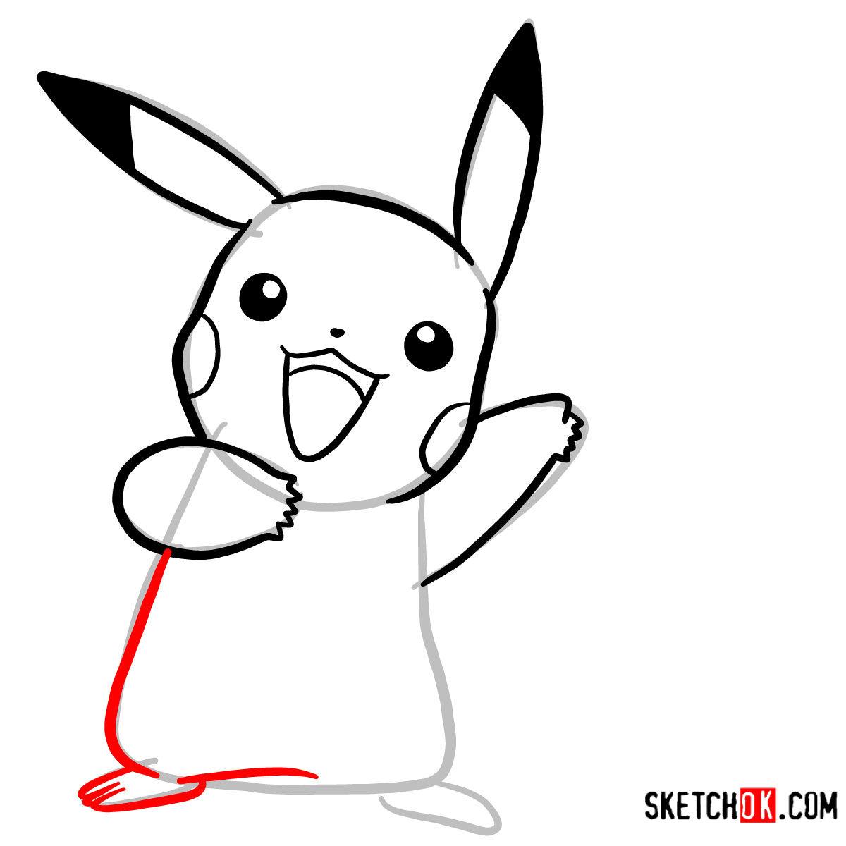How to draw Happy Pikachu | Pokemon - step 06