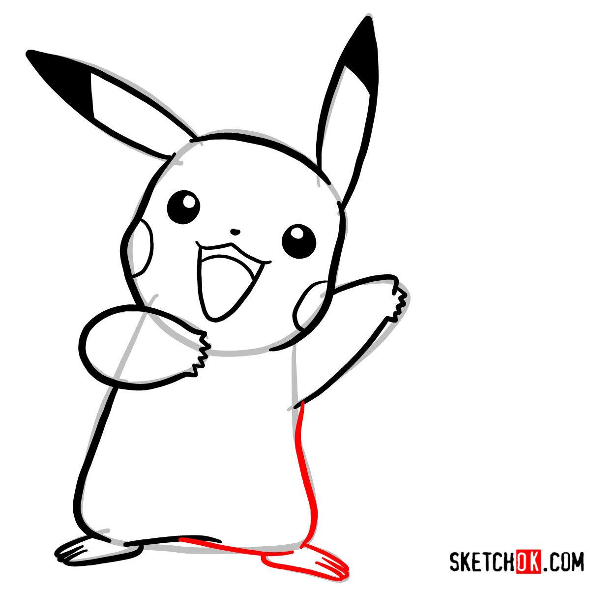 How to draw Happy Pikachu | Pokemon - step 07