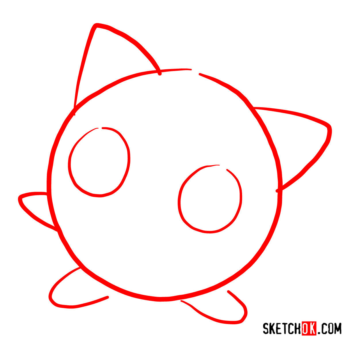 How to draw Jigglypuff | Pokemon - step 01
