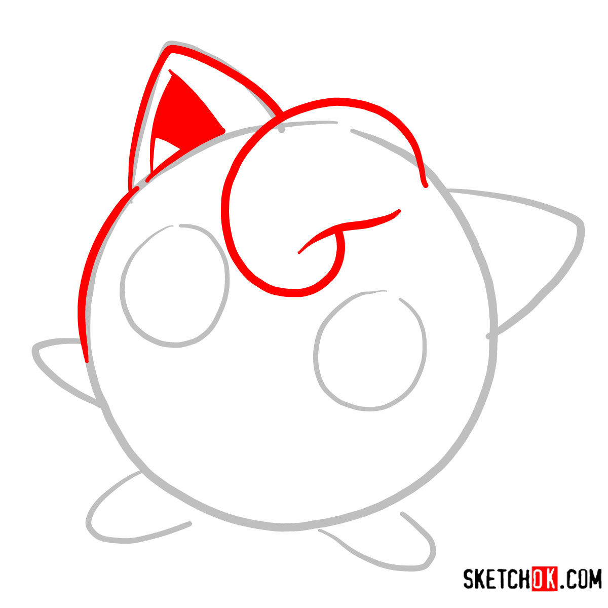 How to draw Jigglypuff | Pokemon - step 02