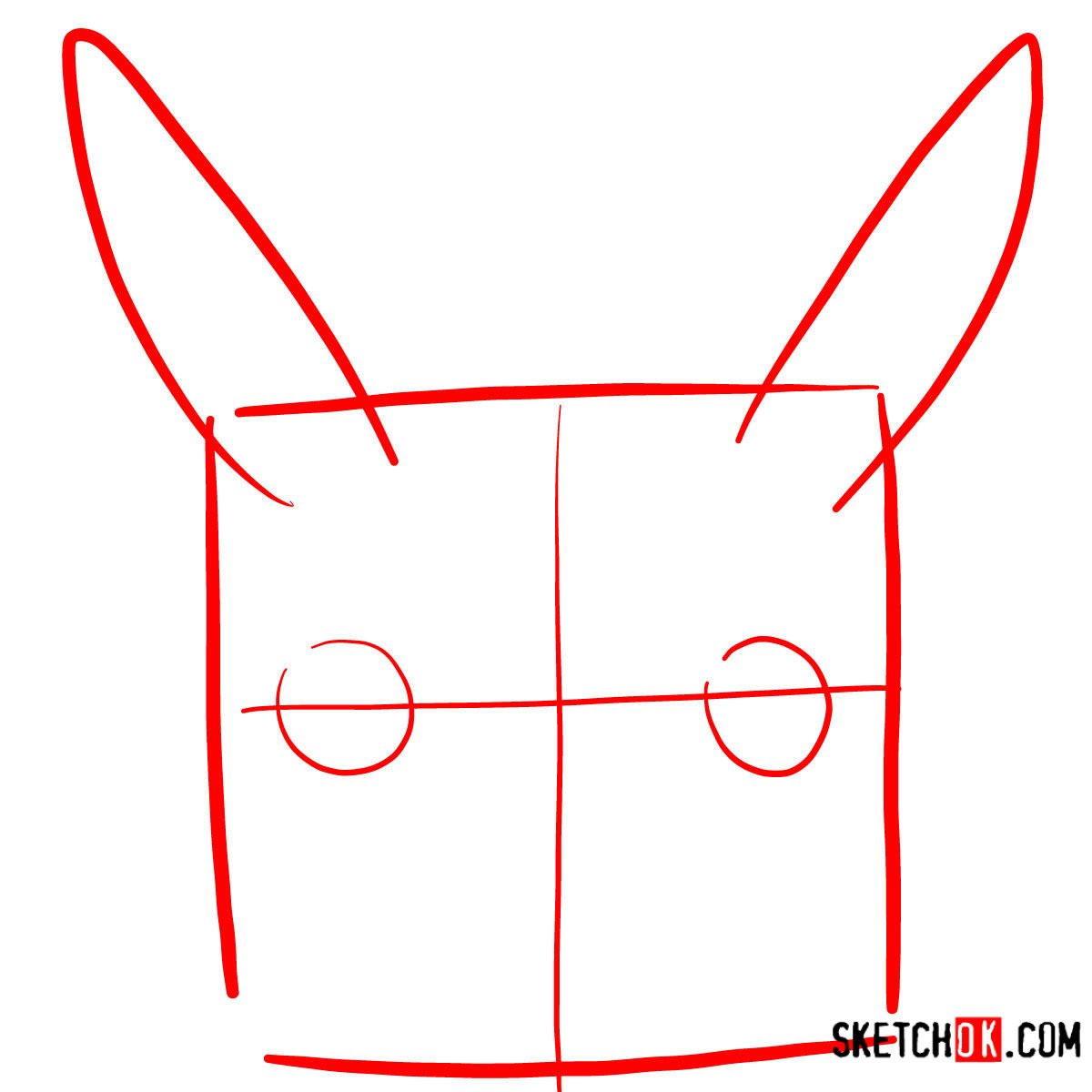 How to draw Pikachu's face | Pokemon - step 01