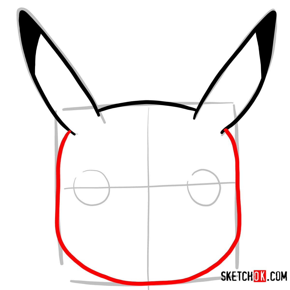 How to draw Pikachu's face | Pokemon - step 03