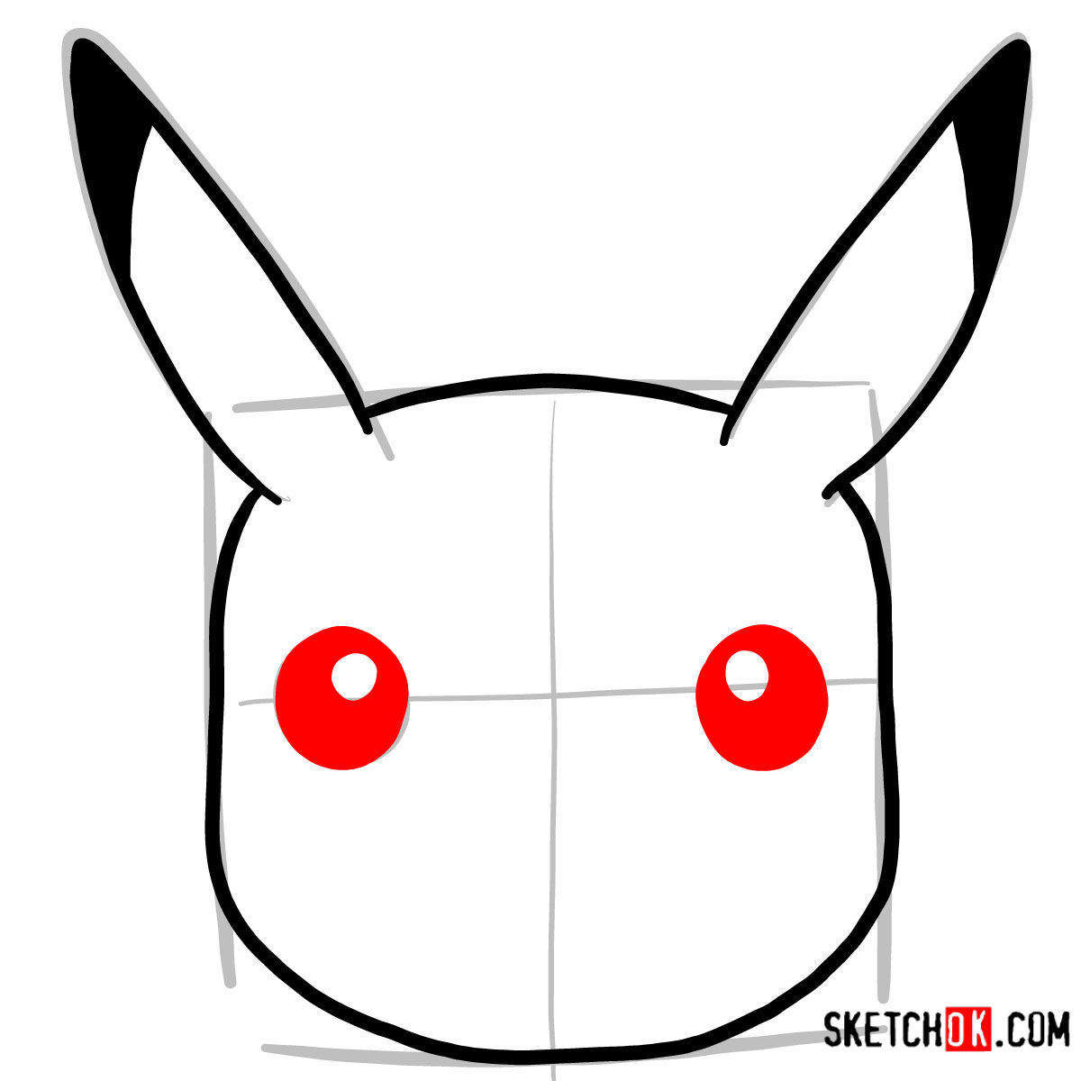 How to draw Pikachu's face | Pokemon - step 04