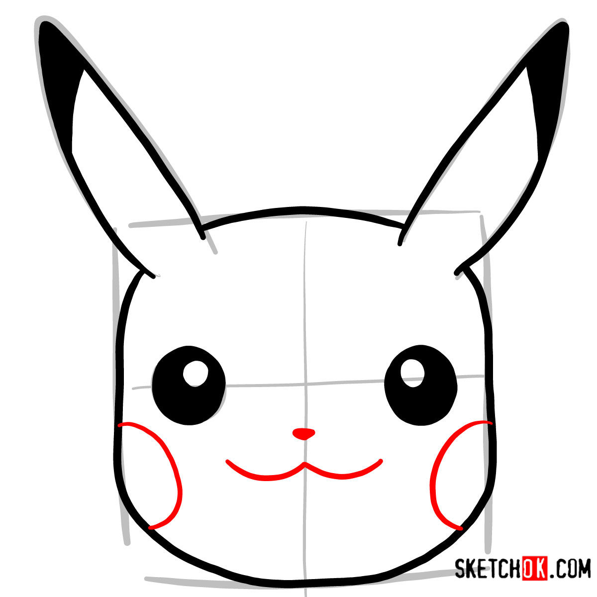How to draw Pikachu's face | Pokemon - step 05