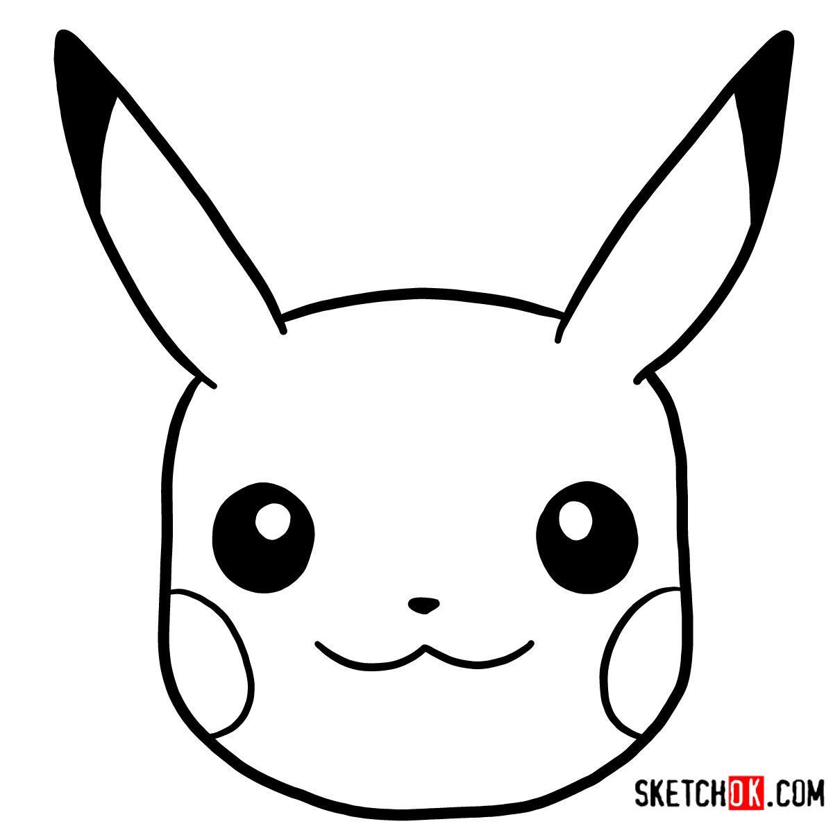 How to draw Pikachu's face | Pokemon - coloring