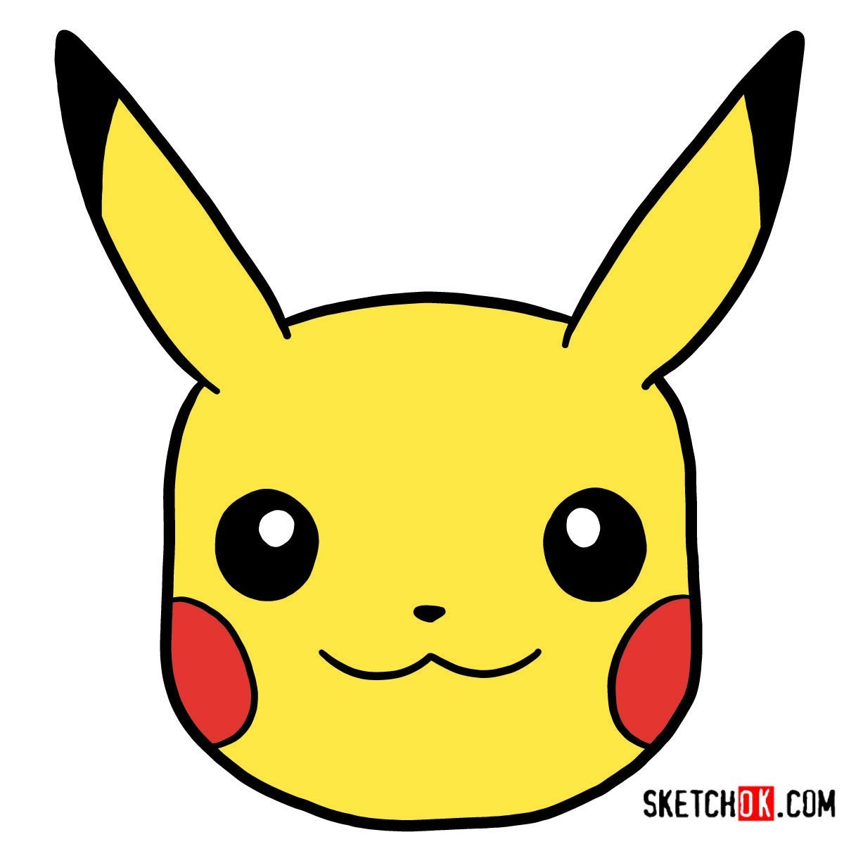 How to draw Pikachu's face | Pokemon