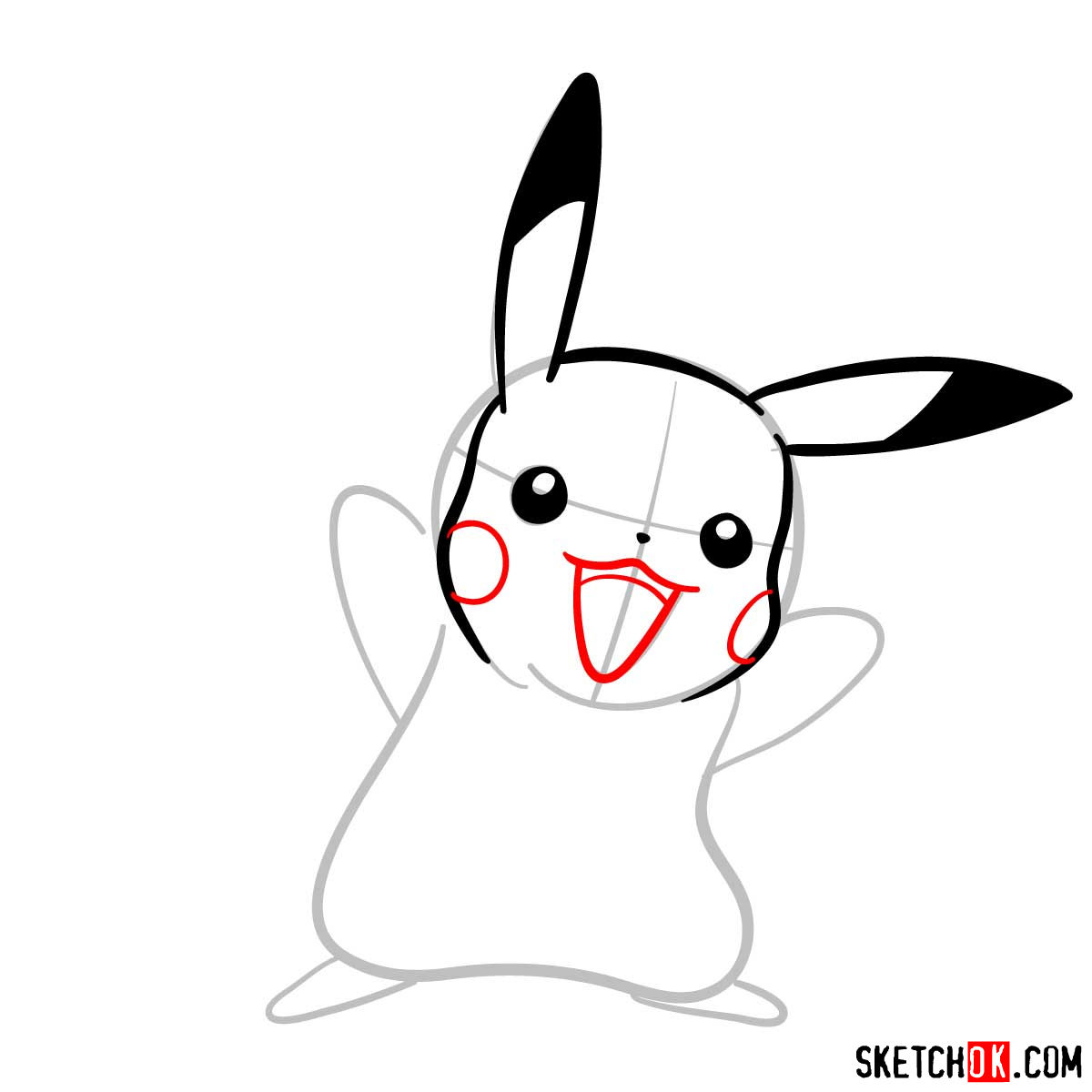 How to draw Pikachu Pokemon with arms wide open - step 05