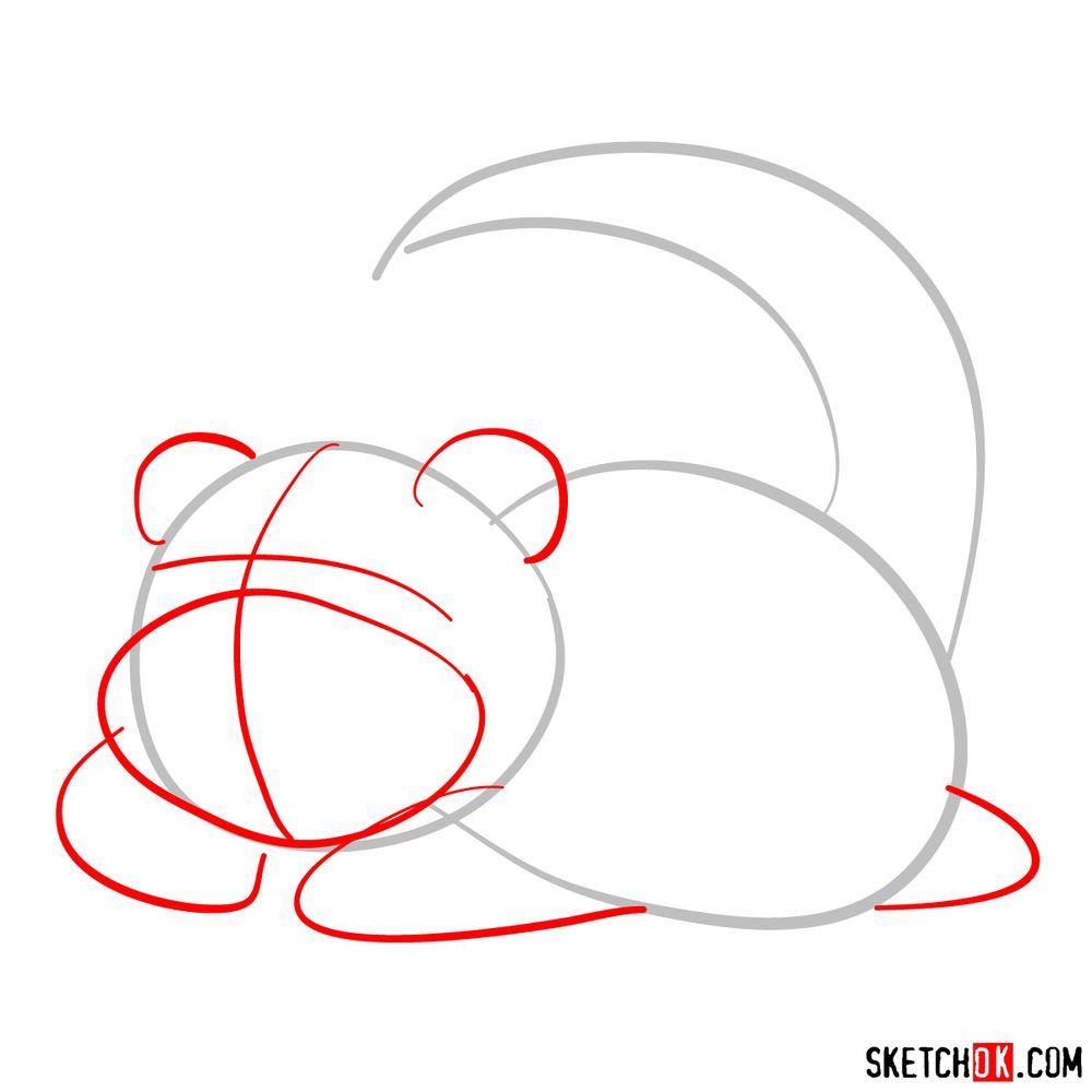How to draw Slowpoke pokemon - step 02