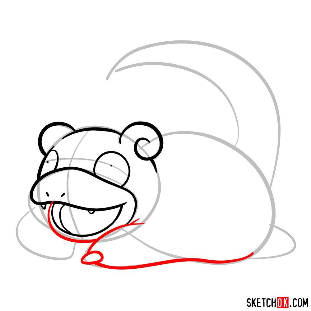 How to draw Slowpoke pokemon - step 05