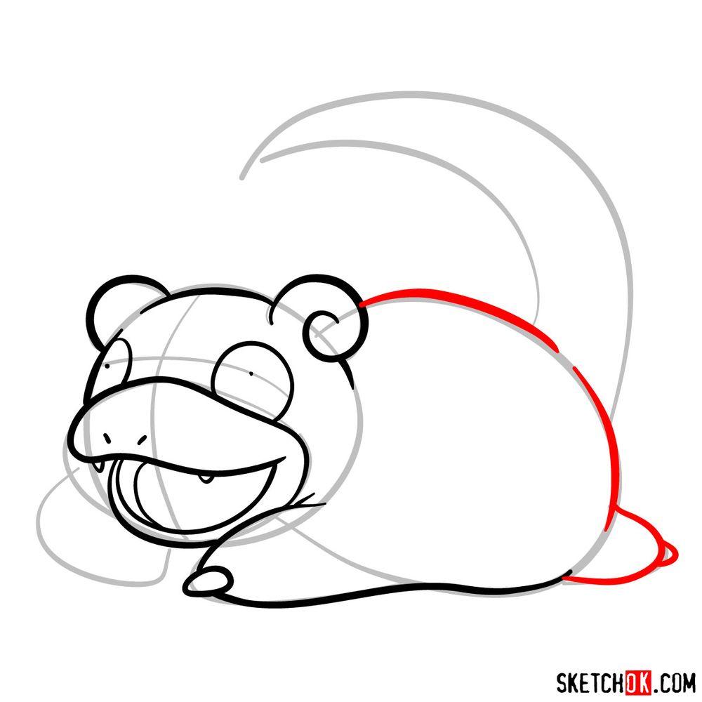 How to draw Slowpoke pokemon - step 06