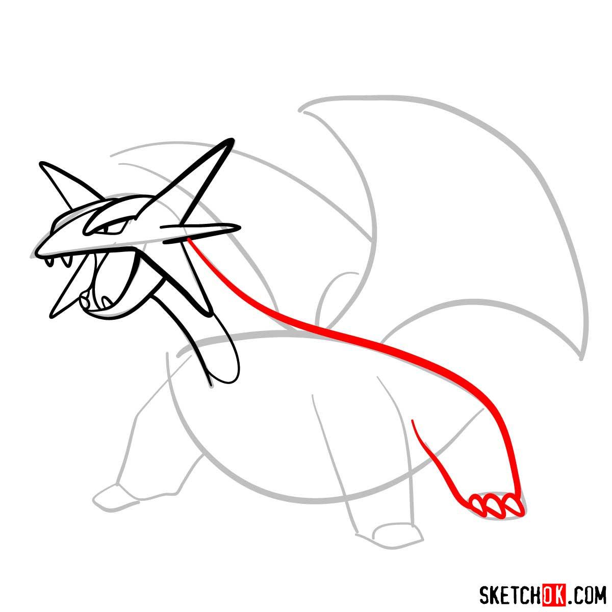 How to draw Salamence | Pokemon - step 06