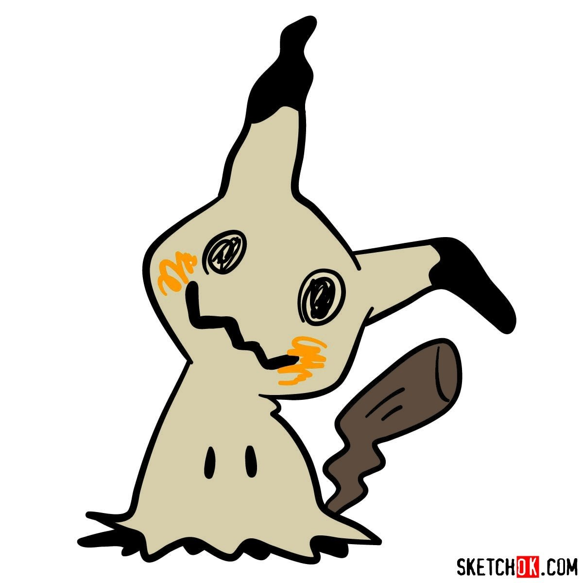 How to draw Mimikyu ghost pokemon (looks like Pikachu)