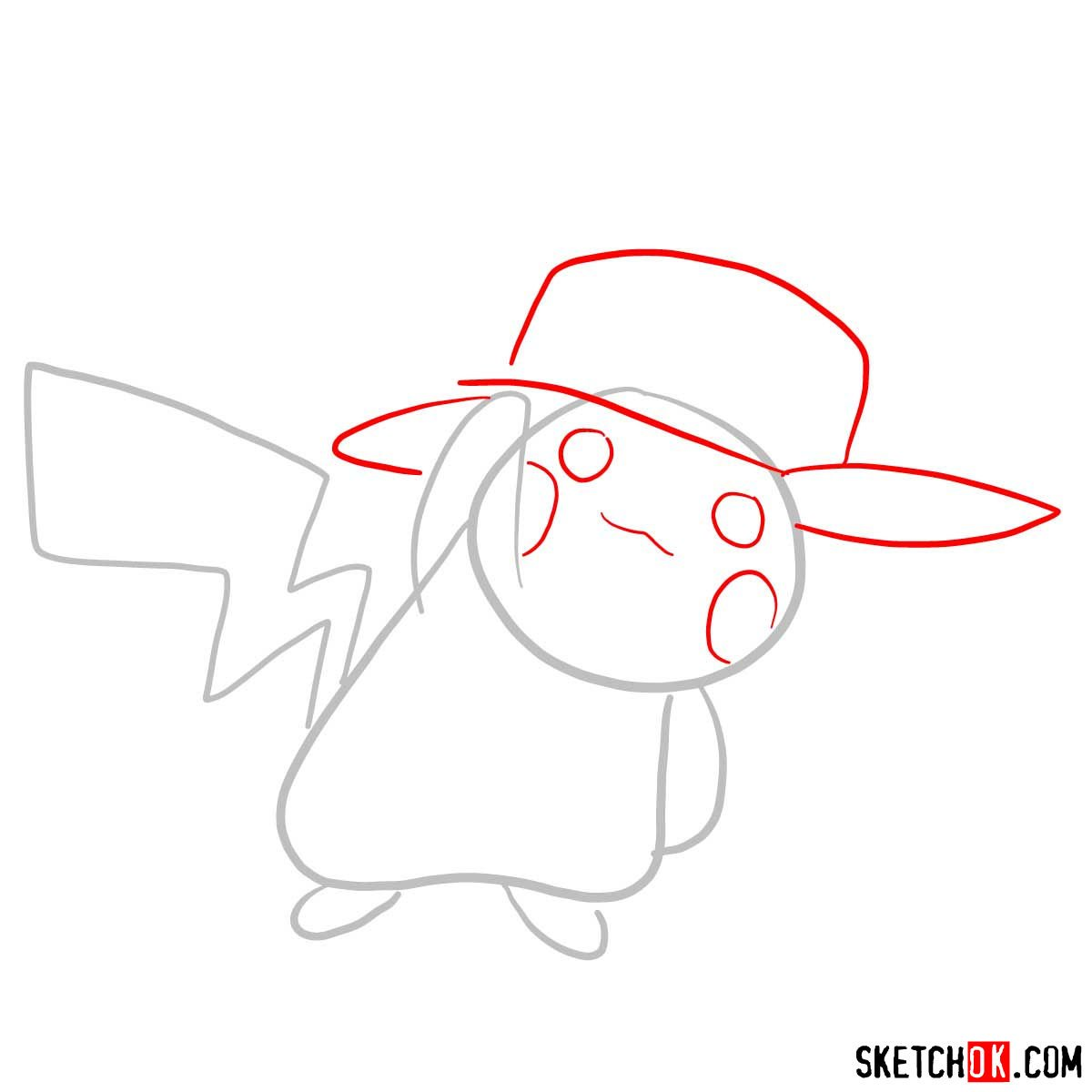 How to draw Pikachu in a cap with pokeball logo - step 02