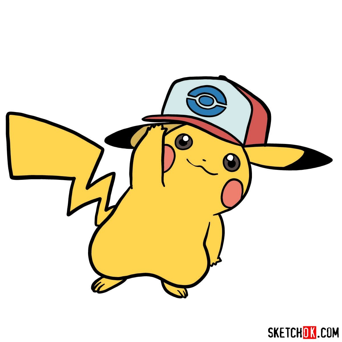 How to draw Pikachu in a cap with pokeball logo - coloring