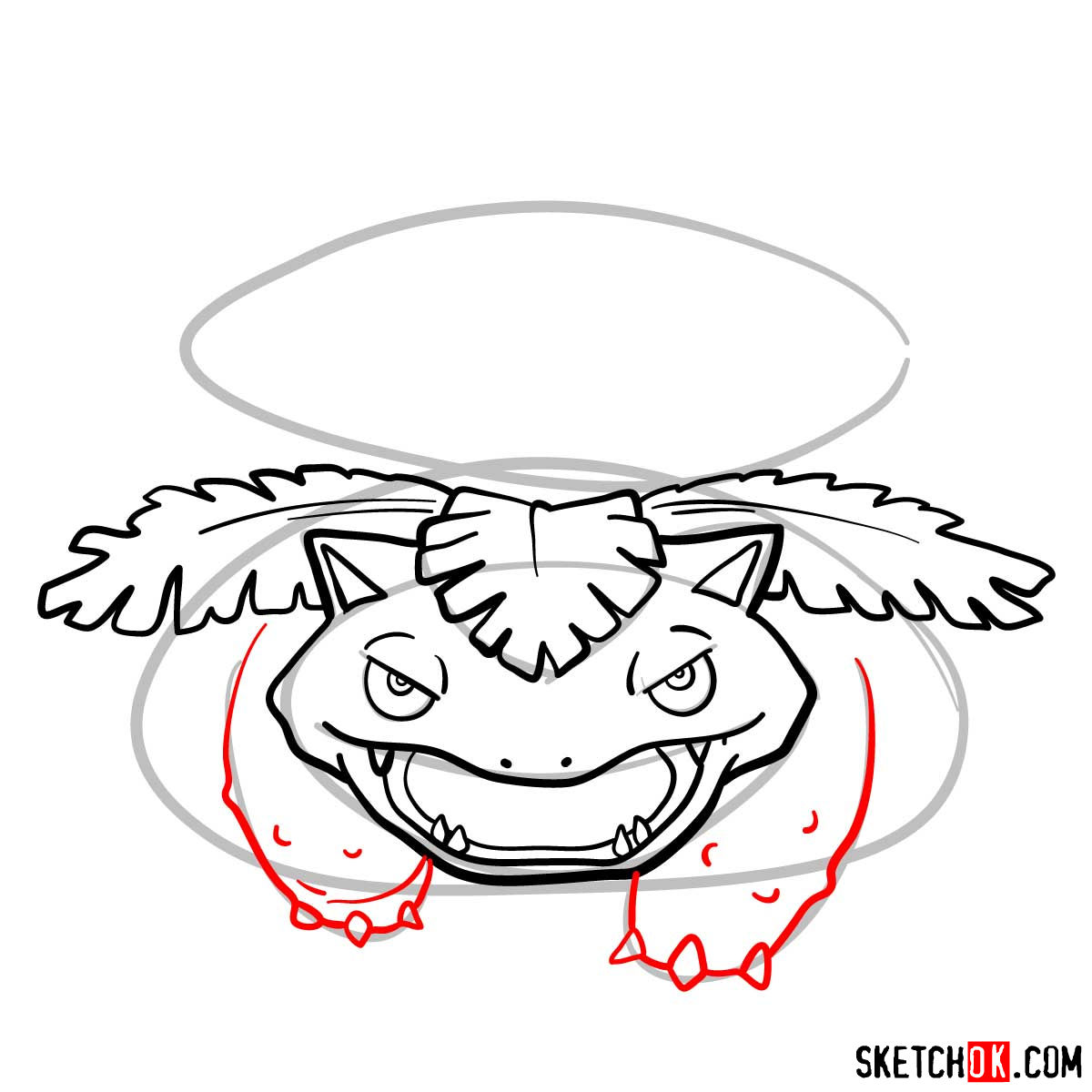 How to draw Venusaur Pokemon - step 08
