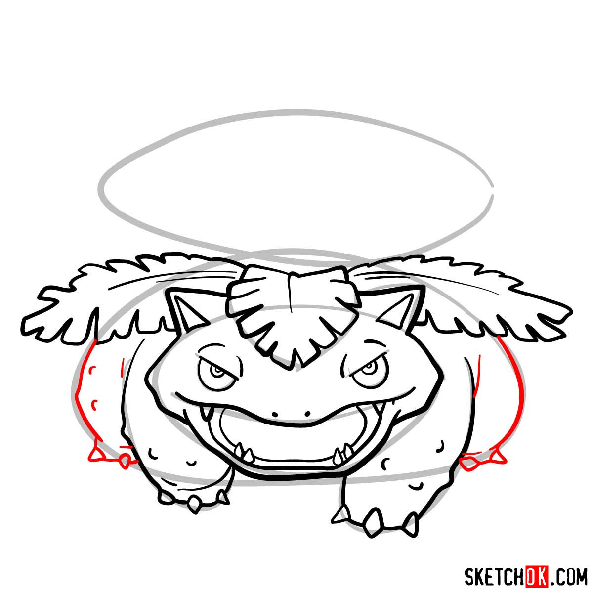 How to draw Venusaur Pokemon - step 09
