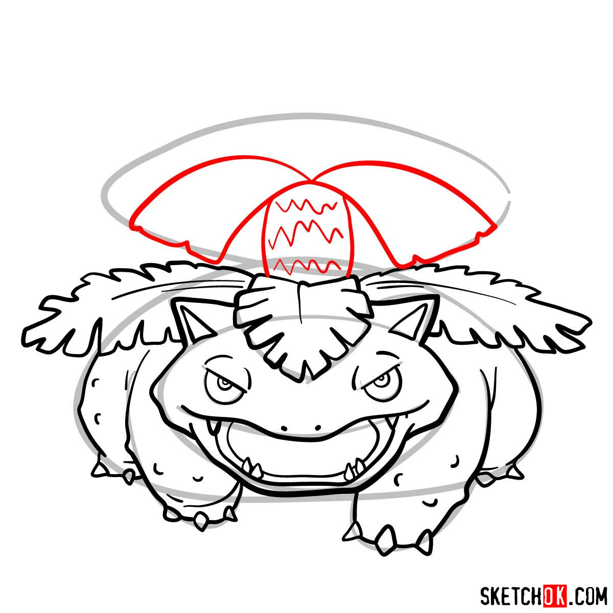 How to draw Venusaur Pokemon - step 10