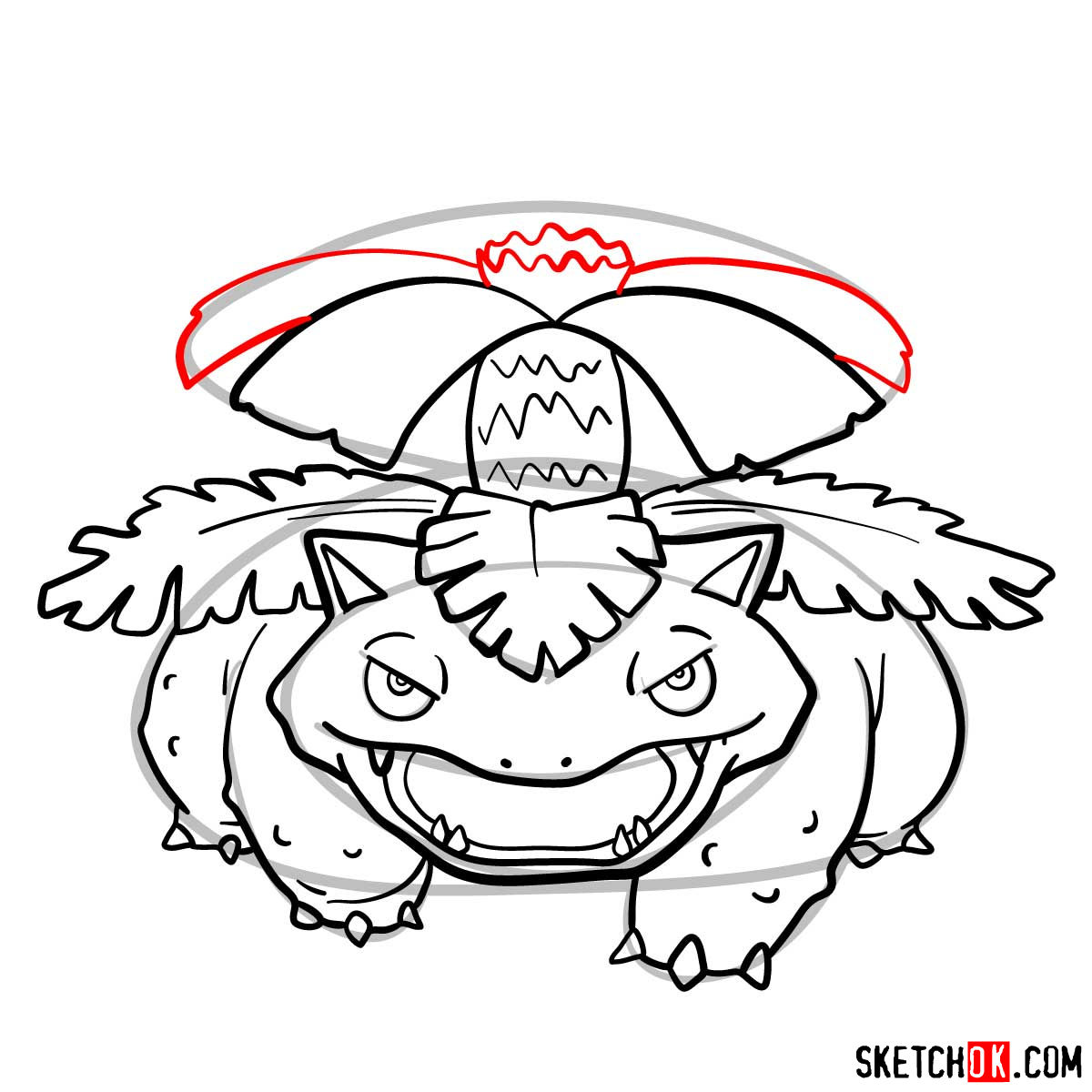 How to draw Venusaur Pokemon - step 11