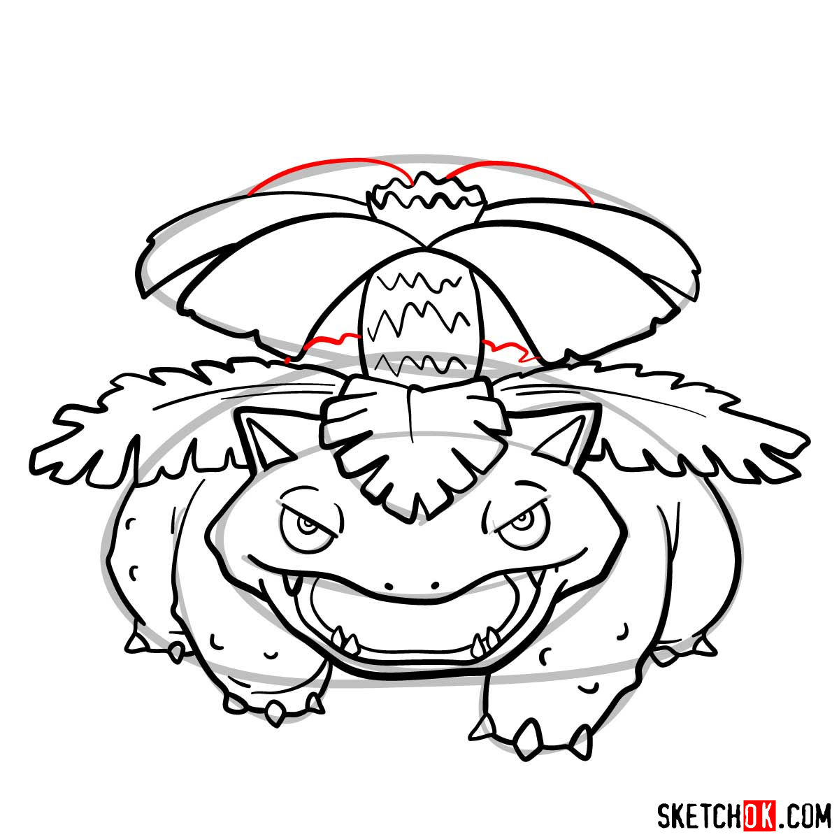 How to draw Venusaur Pokemon - step 12
