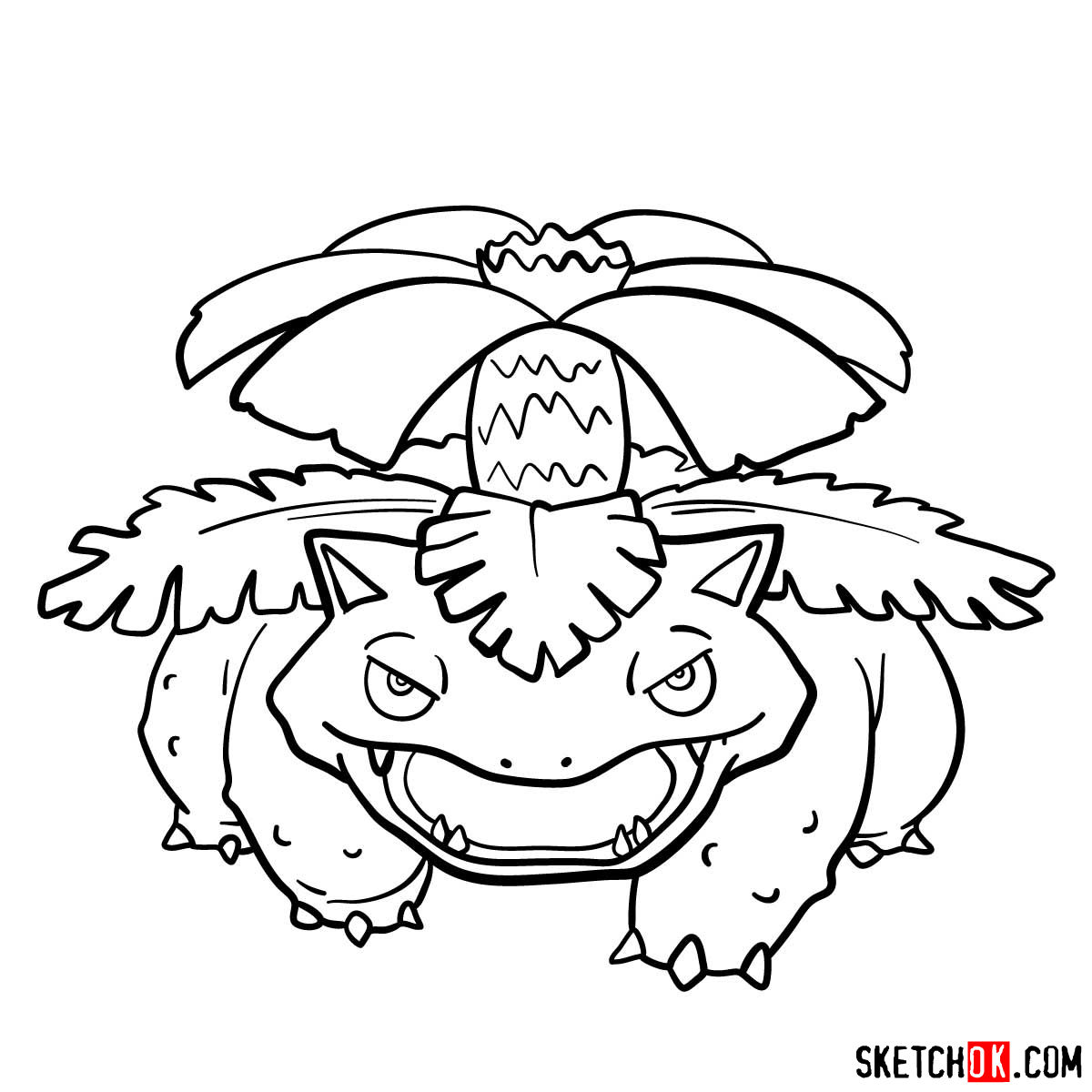 How to draw Venusaur Pokemon - step 13