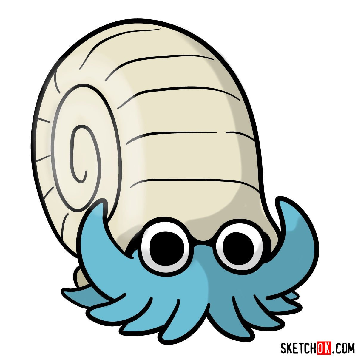 How to draw Omanyte Pokemon - coloring