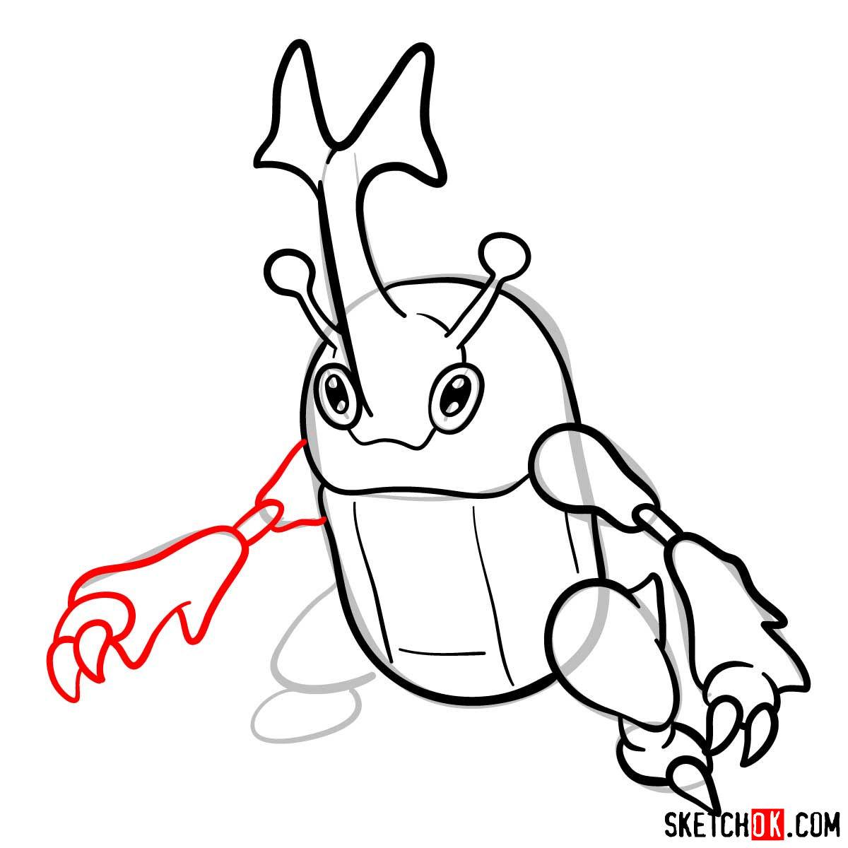 How to draw Heracross Pokemon - step 09