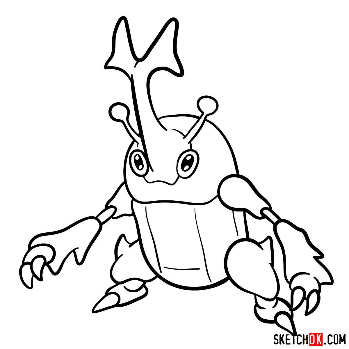 How to draw Heracross Pokemon - step 11