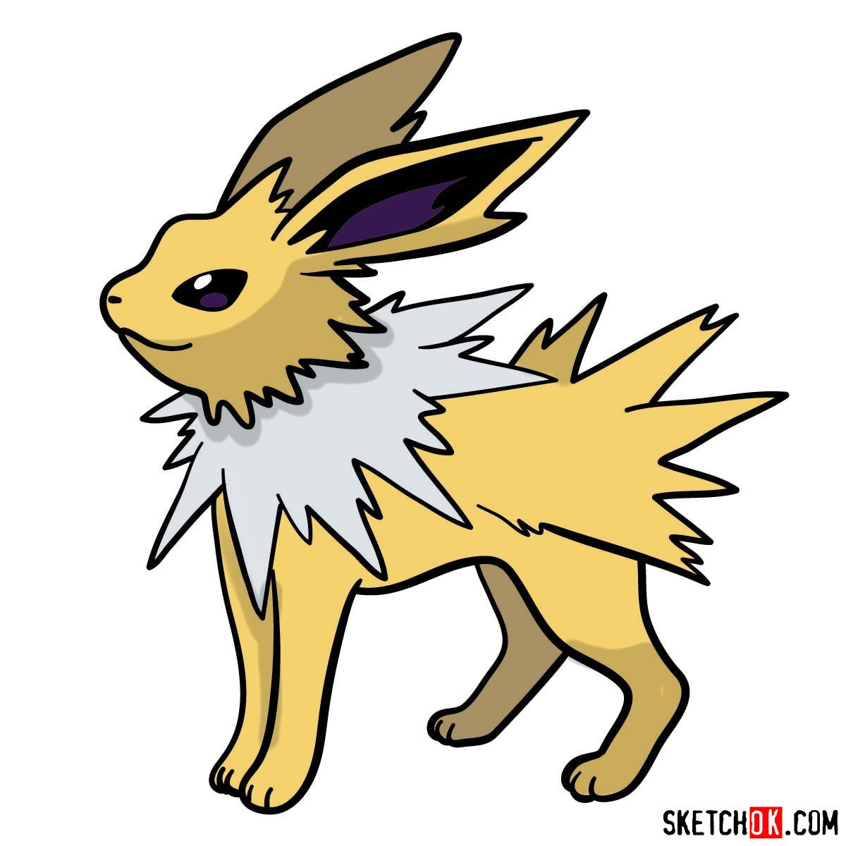 How to draw Jolteon Pokemon - coloring