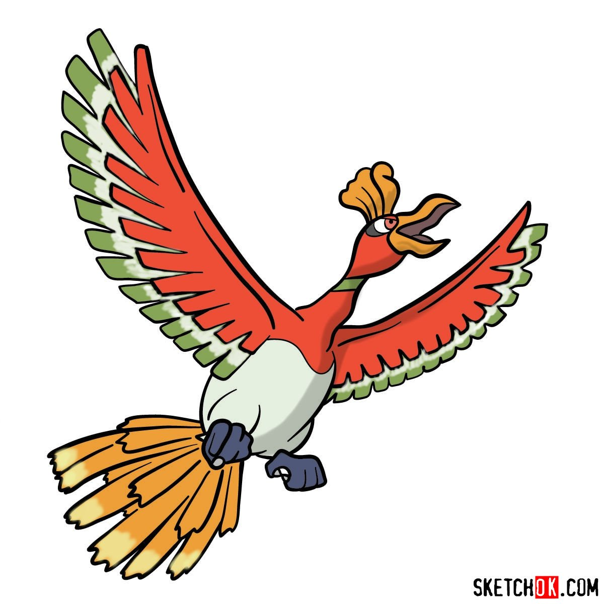 How to draw Ho-oh Pokemon