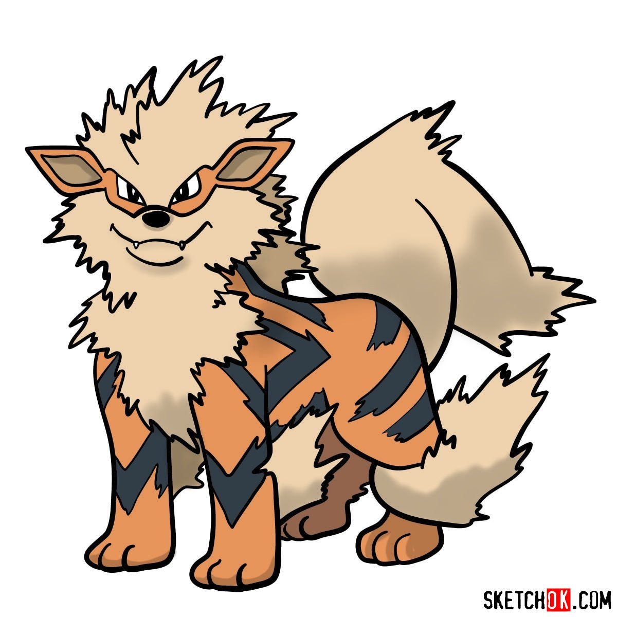 How to draw Arcanine Pokemon