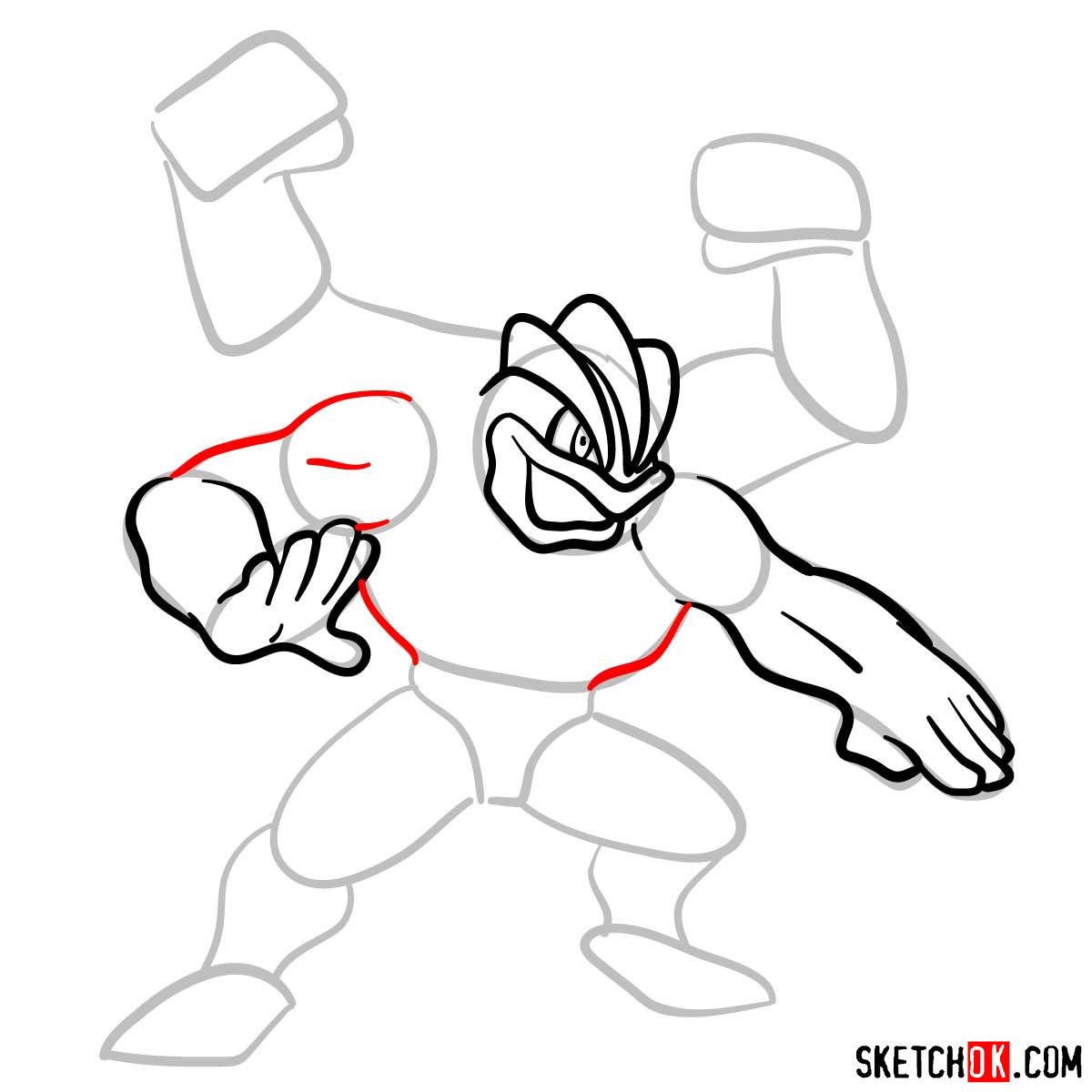 How to draw Machamp Pokemon - step 07