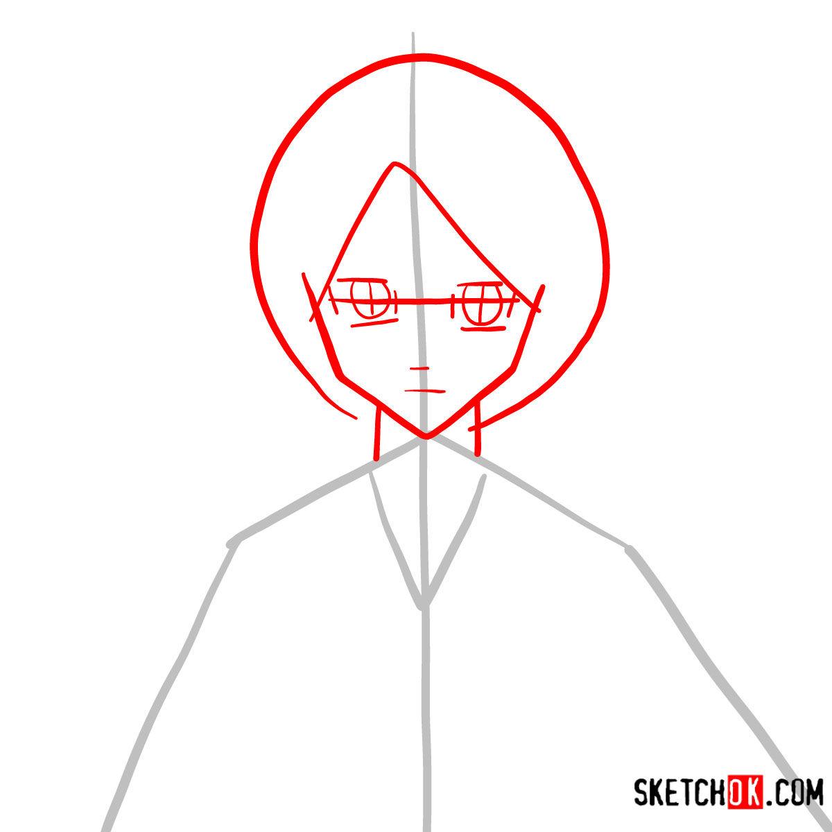 How to draw Rukia Kuchiki face | Bleach - step 02