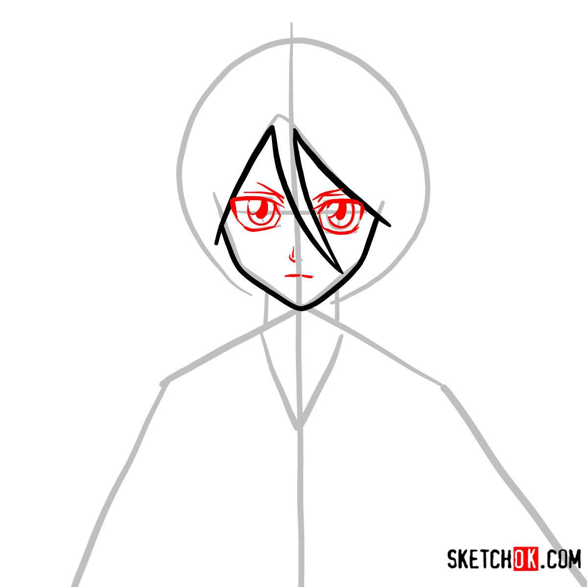 How to draw Rukia Kuchiki face | Bleach - step 04