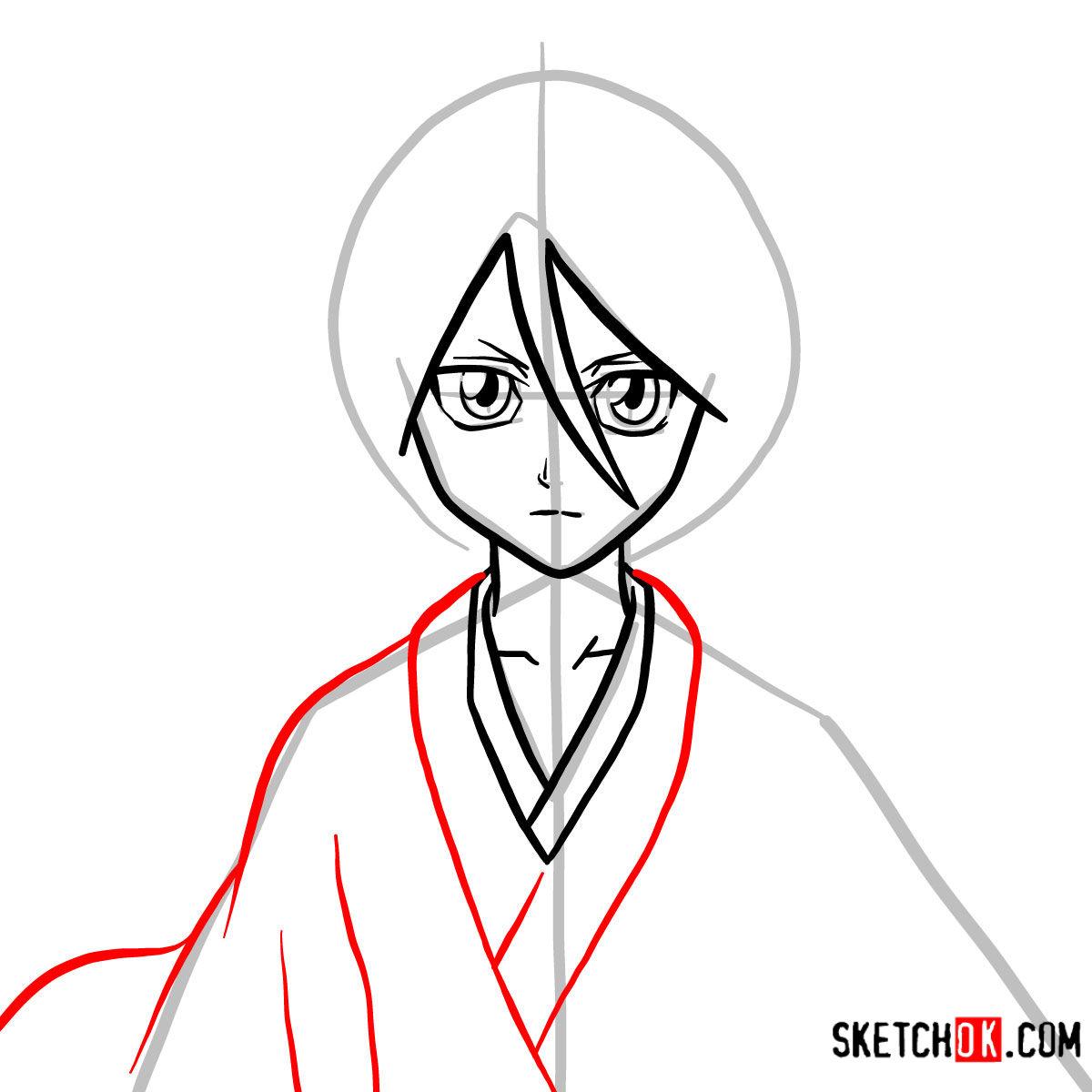 How to draw Rukia Kuchiki face | Bleach - step 06