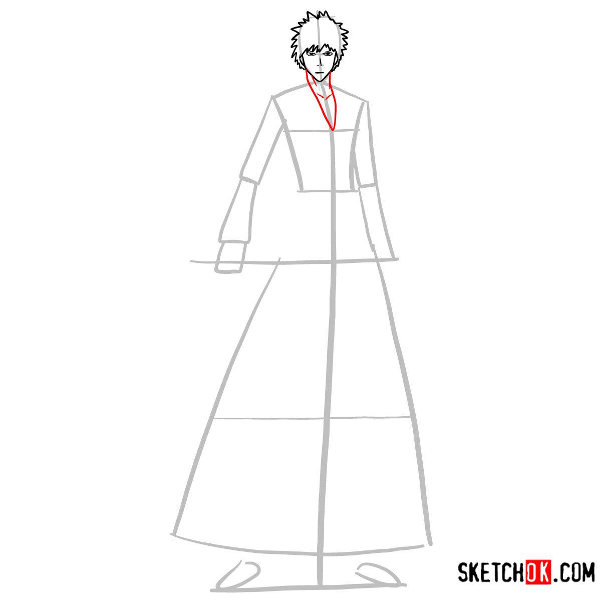 How to draw Ichigo Kurosaki full growth   Bleach - step 06