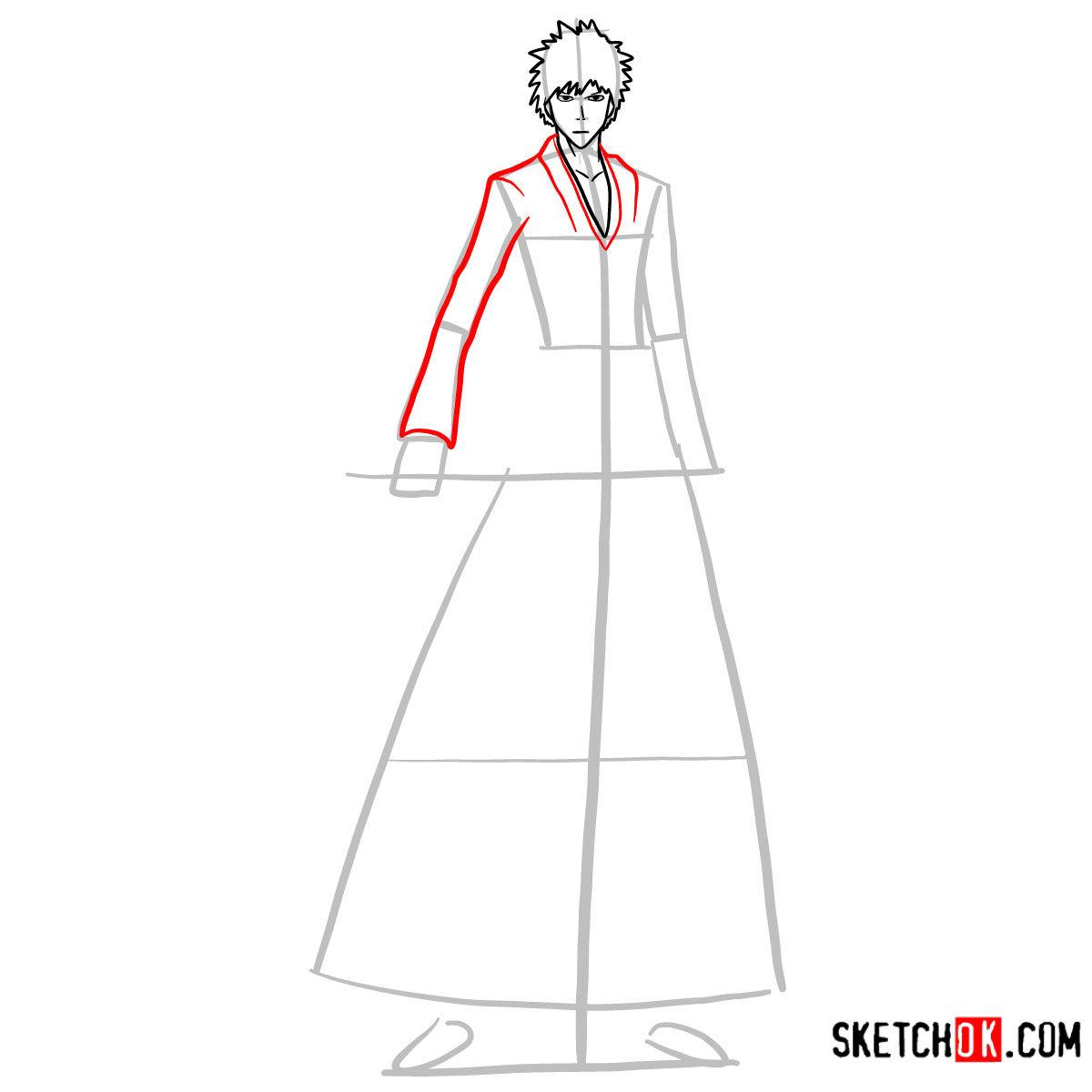 How to draw Ichigo Kurosaki full growth   Bleach - step 07