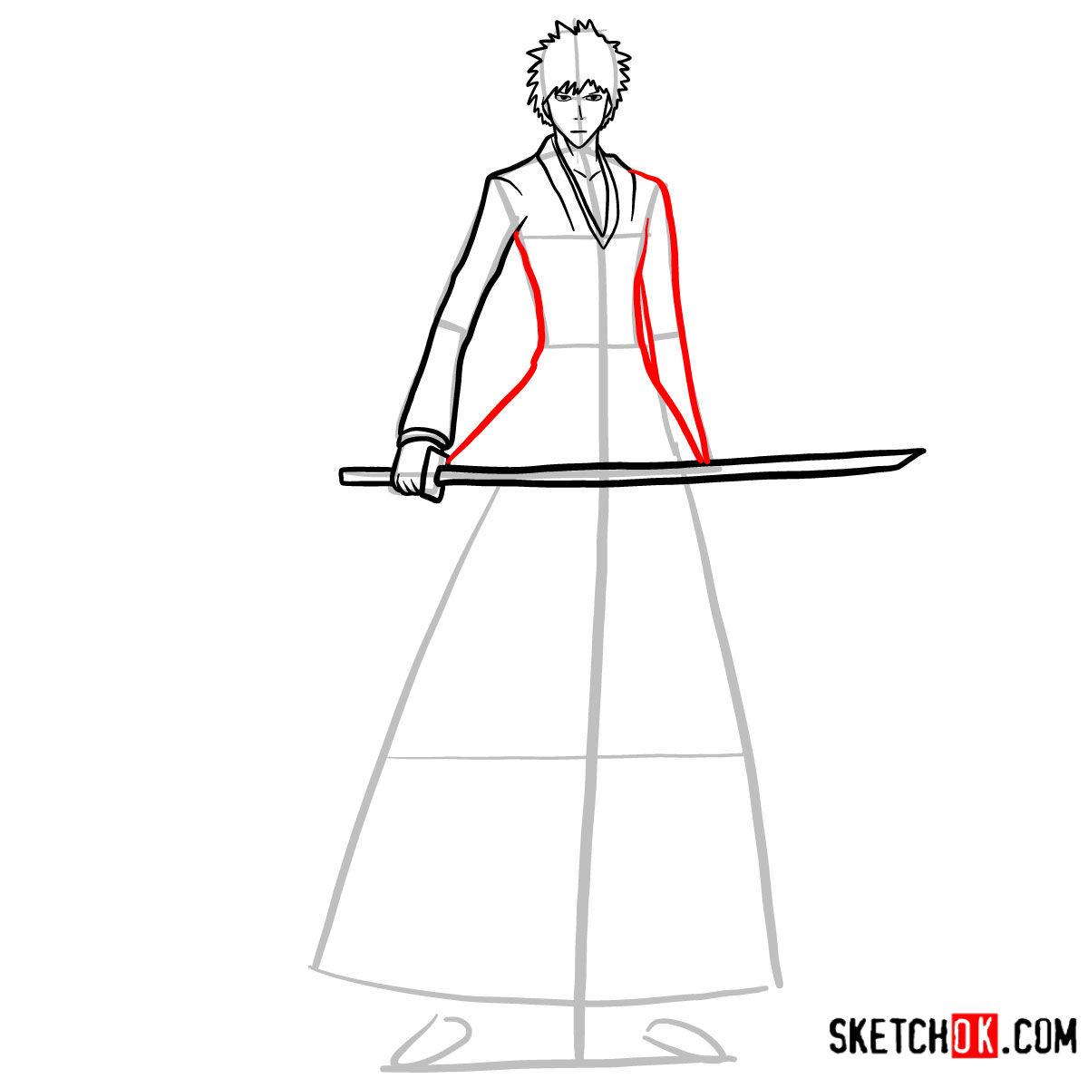 How to draw Ichigo Kurosaki full growth   Bleach - step 09