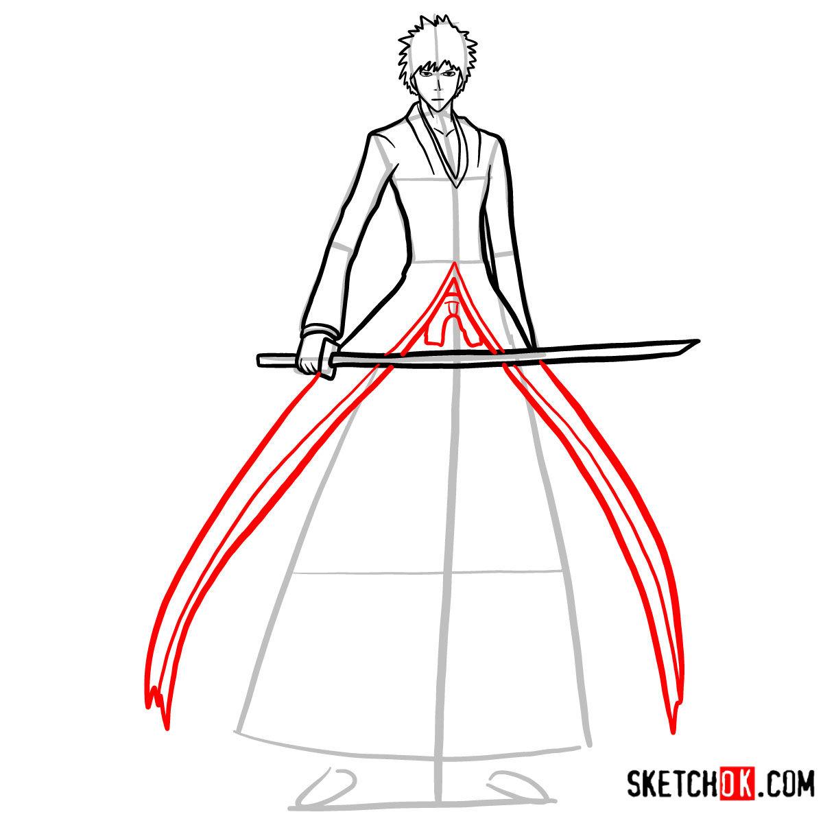 How to draw Ichigo Kurosaki full growth   Bleach - step 10