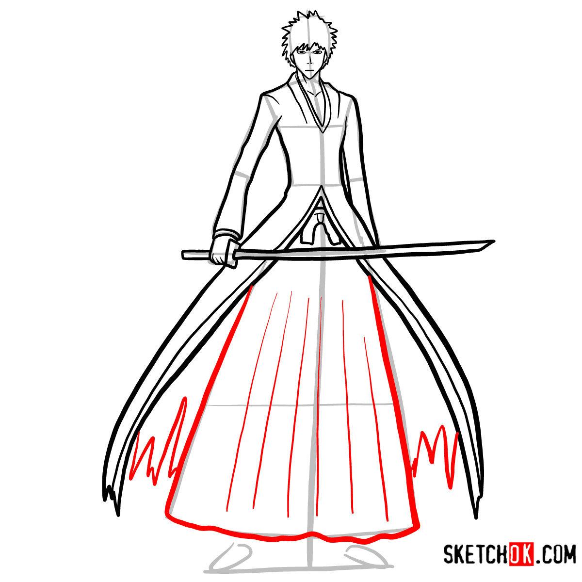 How to draw Ichigo Kurosaki full growth   Bleach - step 11