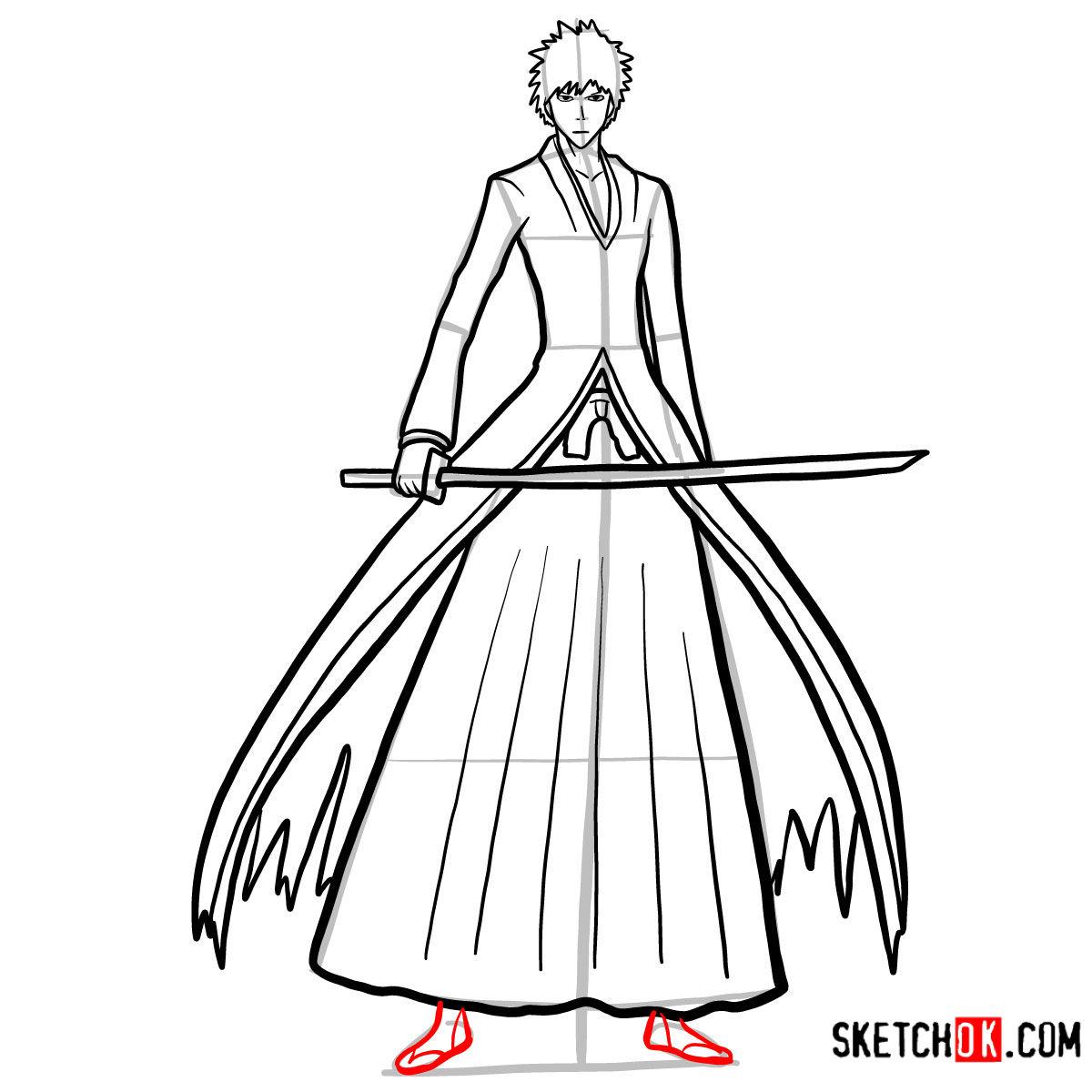How to draw Ichigo Kurosaki full growth   Bleach - step 12
