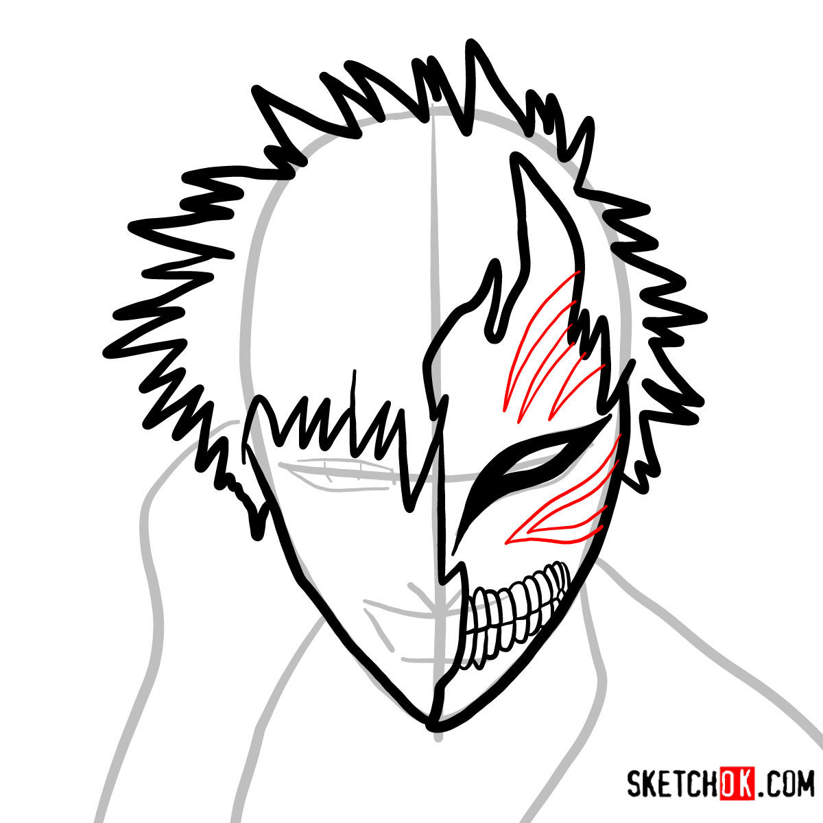 How to draw Ichigo Kurosaki in a mask | Bleach - step 06