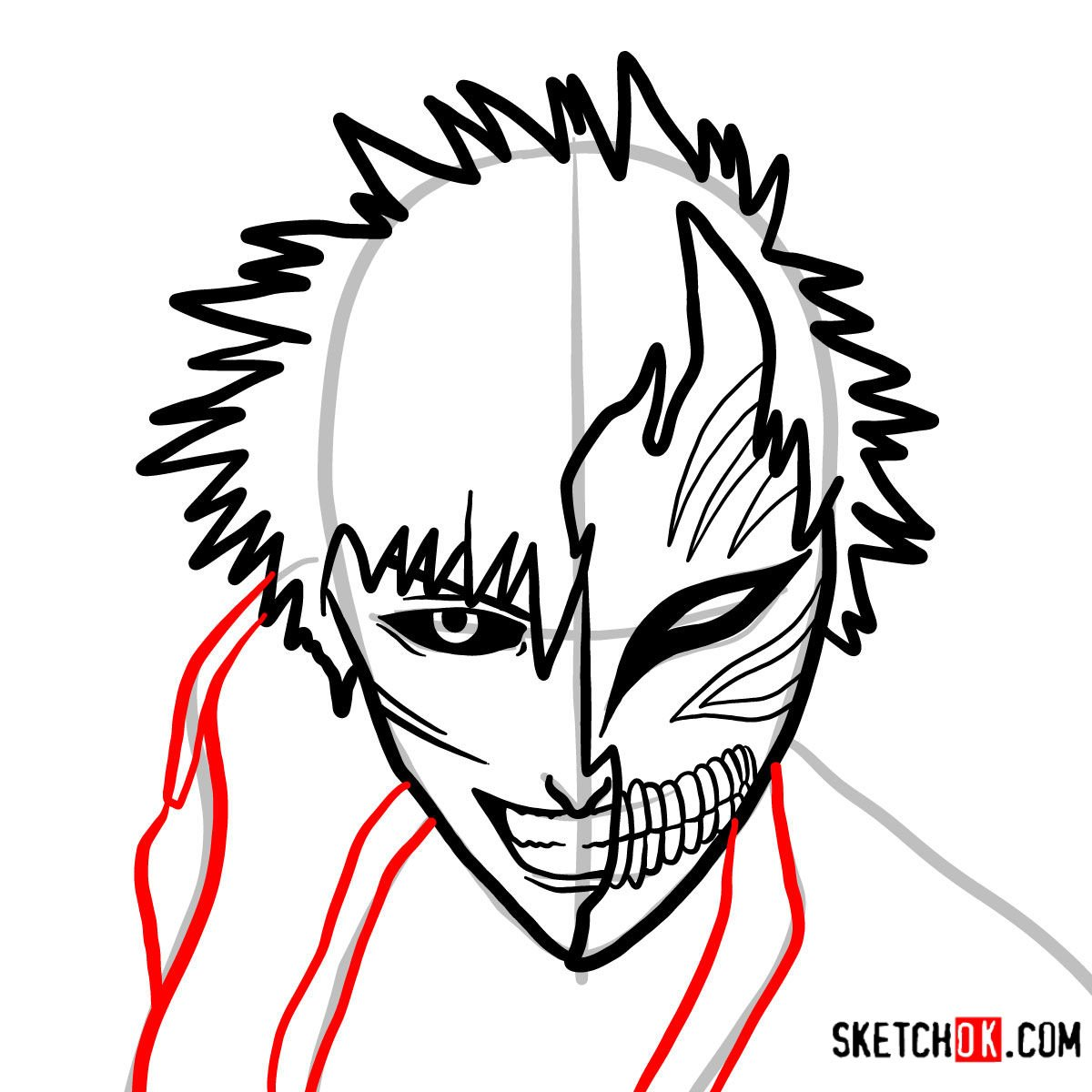How to draw Ichigo Kurosaki in a mask | Bleach - step 09