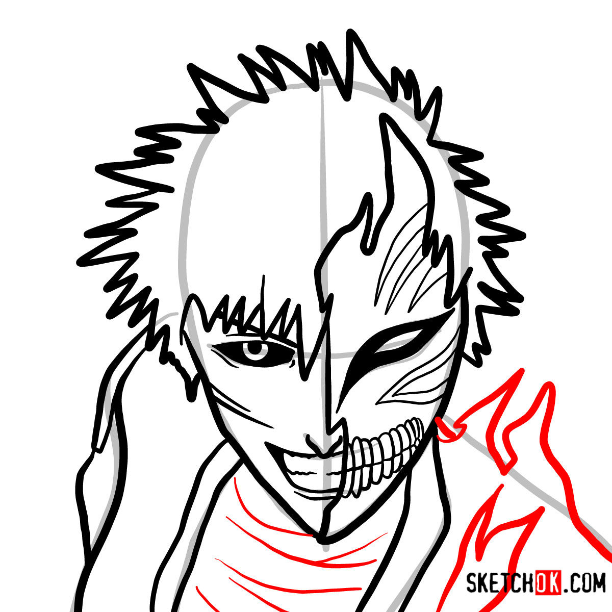 How to draw Ichigo Kurosaki in a mask | Bleach - step 10