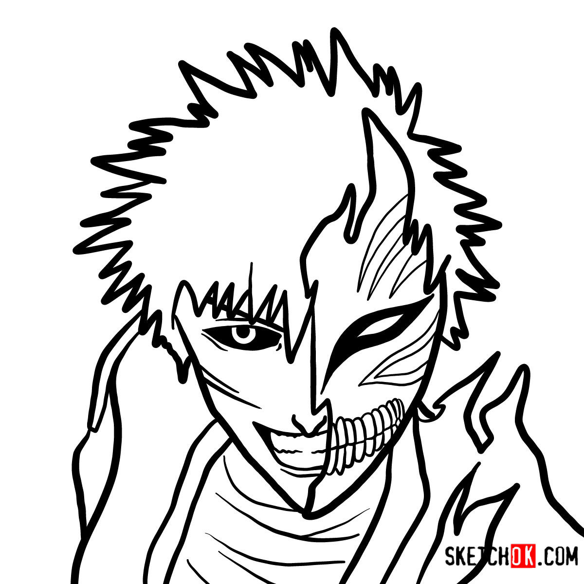 How to draw Ichigo Kurosaki in a mask | Bleach
