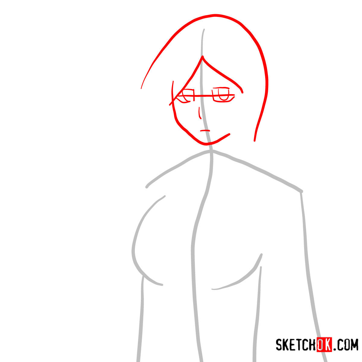 How to draw Orihime Inoue face | Bleach - step 02
